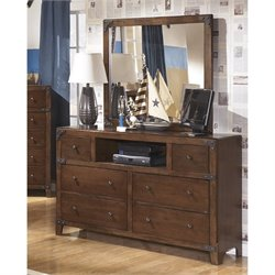 Ashley Delburne 2 Piece Wood Media Dresser Set in Brown