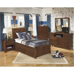Ashley Delburne 6 Piece Wood Twin Drawer Bedroom Set in Brown
