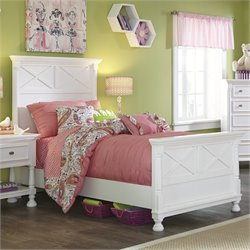 Ashley Kaslyn Wood Twin Panel Bed in White