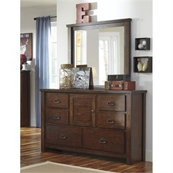 Ashley Ladiville 2 Piece Wood Dresser Set in Rustic Brown