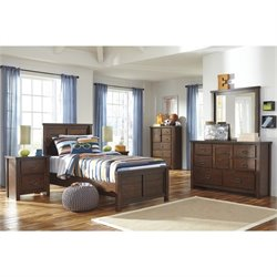 Ashley Ladiville 6 Piece Wood Twin Panel Bedroom Set in Rustic Brown