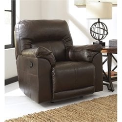 Ashley Barrettsville Leather Rocker Recliner in Chocolate