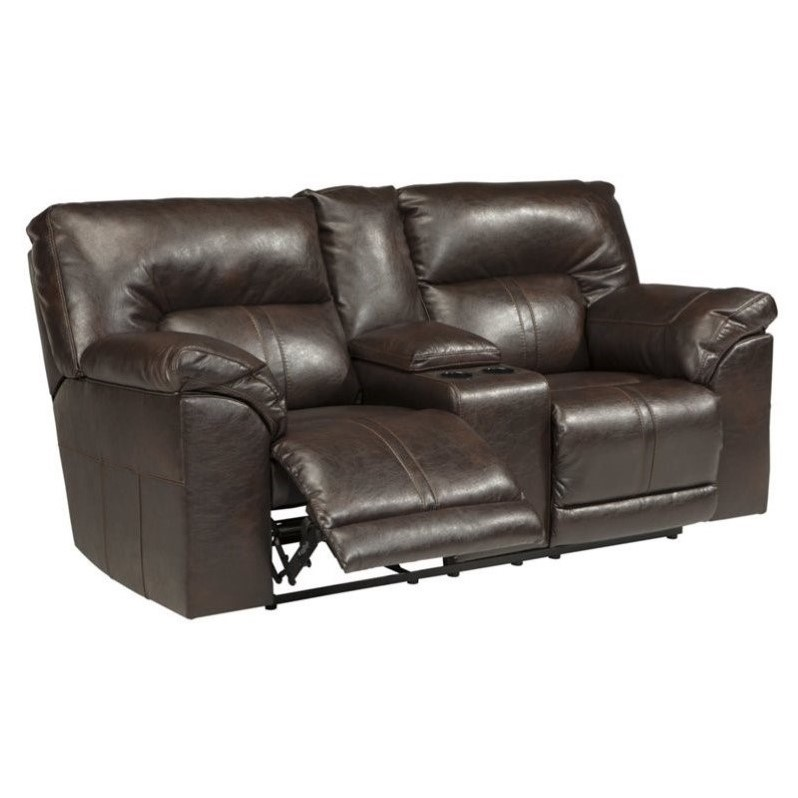 Ashley Barrettsville Leather Reclining Console Loveseat In Chocolate 4730194