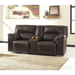 Ashley Barrettsville Leather Power Reclining Console Loveseat in Brown