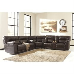 Ashley Barrettsville 3 Piece Leather Reclining Sectional in Chocolate