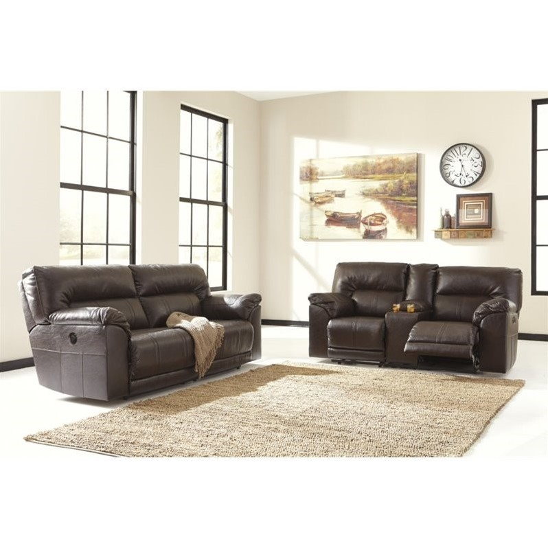 Ashley Barrettsville 2 Piece Power Reclining Leather Sofa Set In Brown