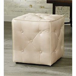 Ashley Jive Faux Leather Cube Accent Ottoman in Taupe