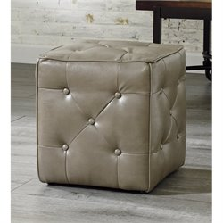 Ashley Jive Faux Leather Cube Accent Ottoman in Quarry