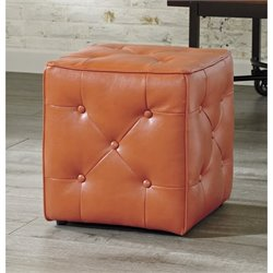 Ashley Jive Faux Leather Cube Accent Ottoman in Orange