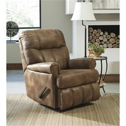 Ashley Chipster Faux Leather Rocker Recliner in Almond