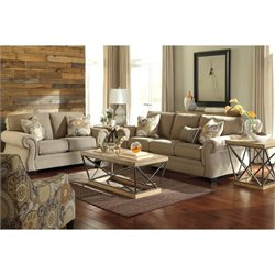 Ashley Tailya 3 Piece Fabric Sofa Set with Accent Chair in Barley