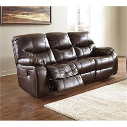 Ashley Pranas Faux Leather Reclining Sofa in Brindle