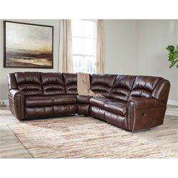 Ashley Manzanola 2 Piece Faux Leather Reclining Sectional in Chocolate