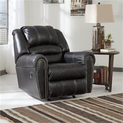 Ashley Manzanola Faux Leather Rocker Recliner in Black