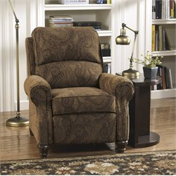 Ashley Deanville Fabric Low Leg Recliner in Antique