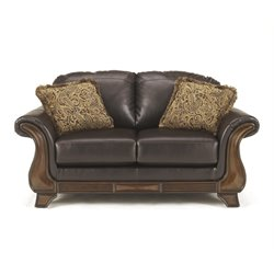 Ashley Riverton Faux Leather Loveseat in Java