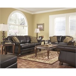 Ashley Riverton 4 Piece Faux Leather Sofa Set in Java