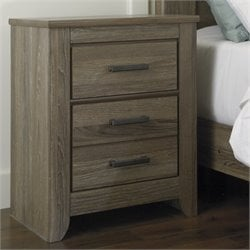 Ashley Zelen 2 Drawer Wood Nightstand in Brown