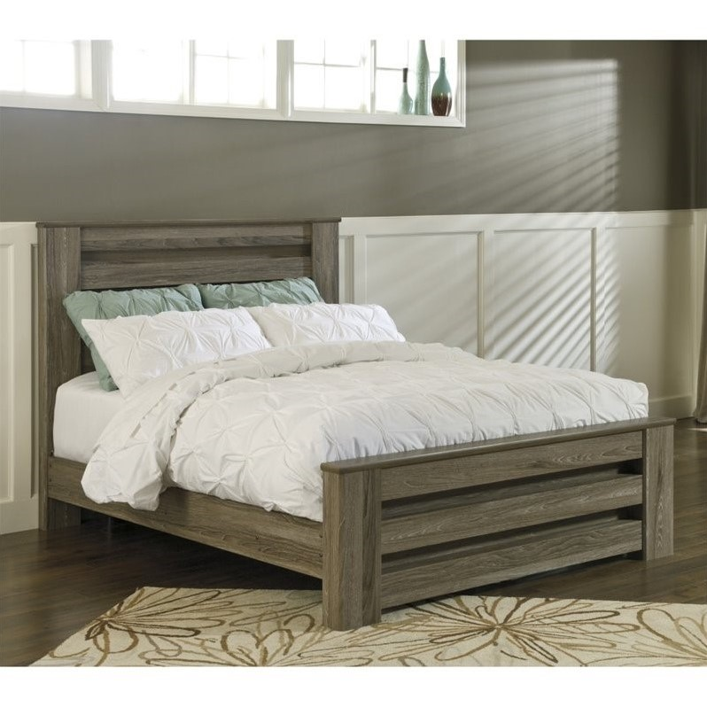 Ashley Zelen Wood Queen Rail Panel Bed In Brown Ebay