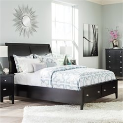 Ashley Braflin Wood Sleigh Drawer Bed in Black - Queen