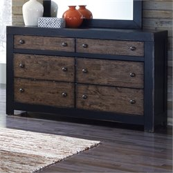 Ashley Emerfield 6 Drawer Wood Double Dresser in Rustic Brown
