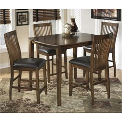 Ashley Stuman 5 Piece Wood Counter Height Dining Set in Brown