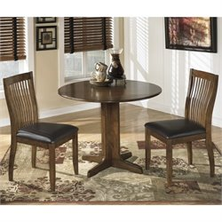 Ashley Stuman 3 Piece Wood Round Dining Set in Brown