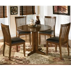 Ashley Stuman 5 Piece Wood Round Dining Set in Brown