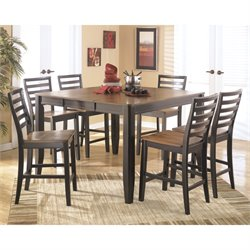 Ashley Alonzo 7 Piece Wood Counter Height Dining Set in Brown