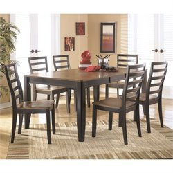 Ashley Alonzo 7 Piece Wood Dining Set in Brown