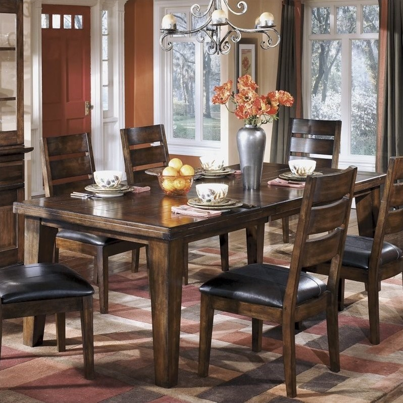 discounted ashley larchmont wood extendable dining room table in brown