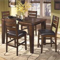 Ashley Larchmont Wood Counter Height Dining Set in Brown