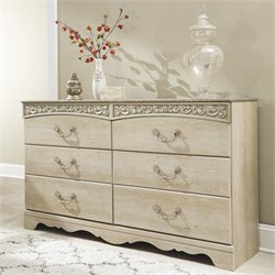Ashley Catalina 6 Drawer Wood Dresser in Antique White