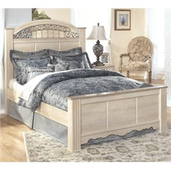 Catalina Wood Panel Bed in Antique White