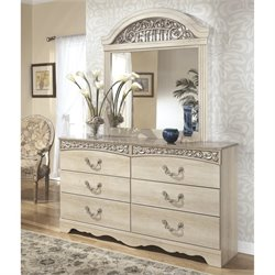 Ashley Catalina 2 Piece Wood Dresser Set in Antique White