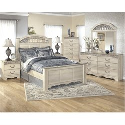 Ashley Catalina 6 Piece Wood King Panel Bedroom Set in White