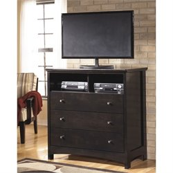 Ashley Harmony 3 Drawer Wood Media Chest in Dark Brown