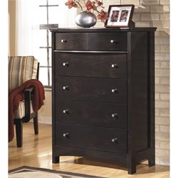 Ashley Harmony 5 Drawer Wood Chest in Dark Brown