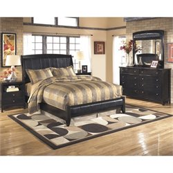 Ashley Harmony 5 Piece Queen Sleigh Bedroom Set in Dark Brown