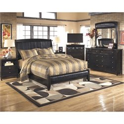 Ashley Harmony 6 Piece Queen Sleigh Media Bedroom Set in Dark Brown