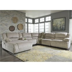 Toletta 6 Piece Chaise Power Console Sectional in Granite