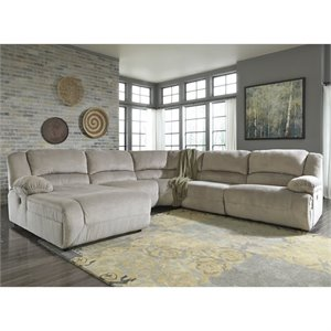 Toletta 5 Piece Chaise Power Sectional in Granite