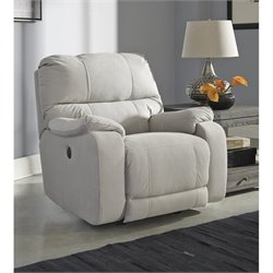 Ashley Bohannon Fabric Power Rocker Recliner in Putty