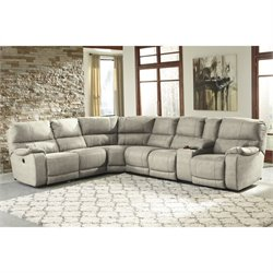Ashley Bohannon 4 Piece Fabric Right Power Console Sectional in Putty