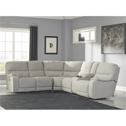 Ashley Bohannon 3 Piece Fabric Right Power Console Sectional in Putty