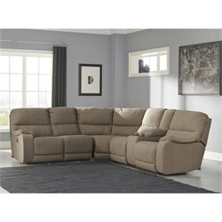 Ashley Bohannon 3 Piece Fabric Right Power Console Sectional in Taupe