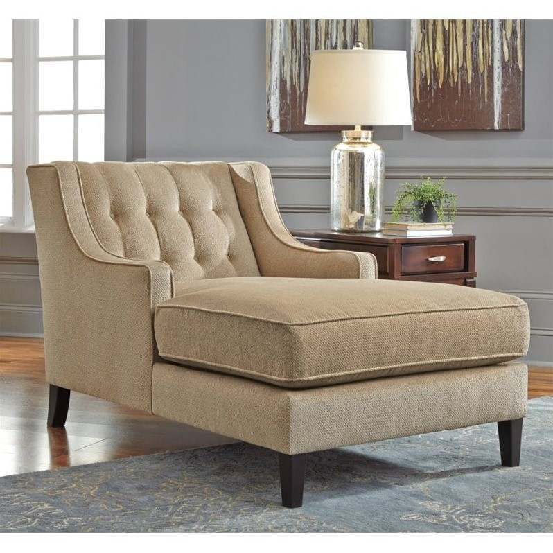 Ashley Lochian Chenille Chaise Lounge in Bisque : ashley chaise lounge - Sectionals, Sofas & Couches