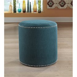 Ashley Revel Microfiber Accent Ottoman in Teal