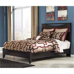 Zanbury Wood Panel Bed in Merlot