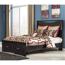 Ashley Zanbury Wood Queen Panel Drawer Bed in Merlot